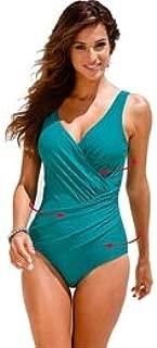 BEESCLOVER One Piece Swimsuit Women Plus Size Swimwear Print Solid Swimwear Vintage Retro Bathing Suits Monokini Swimsuit 5XL Green 4XL