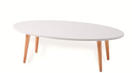 FLENDIT Home- Moderna Mesa de Centro Ovalada de 110 cm ø de Estilo Escandinavo de 1ª Calidad en Color Blanco Mate y Patas de Madera Maciza de Haya 100% Natural.