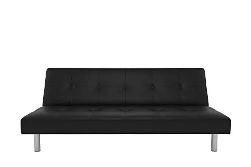 DHP Nola Futon Couch with Tufted Faux Leather Upholstery, Modern Style, Black Faux Leather