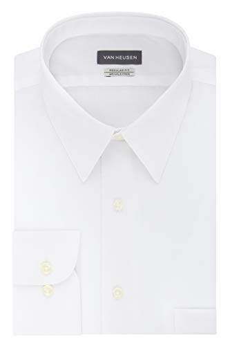 "Van Heusen Men's Poplin Regular Fit Solid Point Collar Dress Shirt, White, 16.5"" Neck 34""-35"" Sleeve"