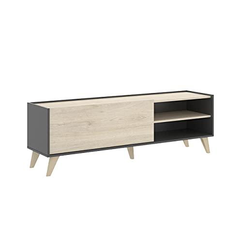 Mueble de TV de diseño nórdico Ness Tablero de partículas melaminizado 155x43 cm (Grafito/Natural)
