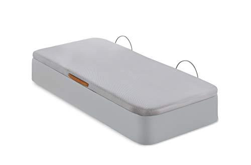 Canapé Tapizado   Apertura Lateral   Tapa Tejido 3D   Arcón Polipiel   Fabricado en España   Envío y Montaje Gratis (105 x 190 cm, Beige)