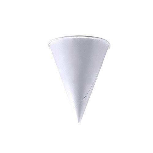 Angoter 250PCS 3,7 oz desechable Cono de Agua Vasos Copas Embudo Cono de Nieve Tazas Blancas
