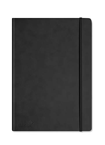 Silvine 198BK Executive Soft Feel Notebook Ruled with Marker Ribbon 160pp 90gsm A4 Black Ref 198BK - Black