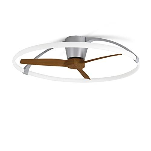 Mantra Iluminación. Modelo NEPAL. Ventilador y plafón de techo de 105 cm de diámetro en color plata y nogal. Fuente de luz LED 75W 2700K-5000K 7200lm. Ventilador 35W