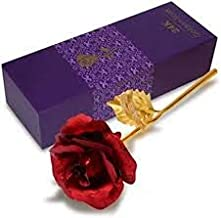 Home Makeover Artificial Red 24K Golden Rose Flower