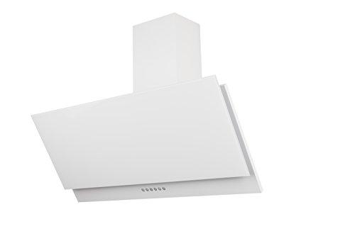 Respekta kopffreie Schräghaube Dunstabzugshaube Abzugshaube Wandhaube Glas 90 cm weiss / 3 Leistungstufen / Abluft und Umluft / LED