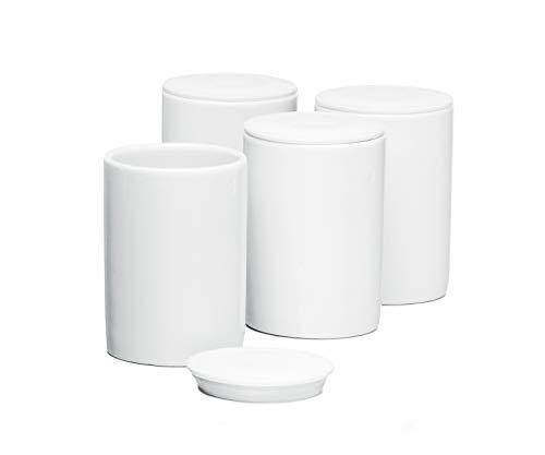 ROMMELSBACHER Keramik Portionsbecher Set JB 4 - à 125 ml, mit Deckel, passend für Joghurtbereiter JG 80, weiß