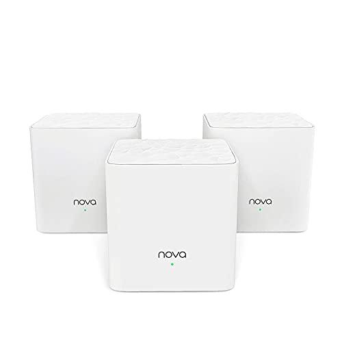 Tenda Nova MW3 Mesh - Router Sistema WiFi de Red en Malla (AC1200, 2.4GHz +5 GHz, Plug and Play, Mu-MIMO, Fast Ethernet 10/100, funciona con Alexa), pack 3