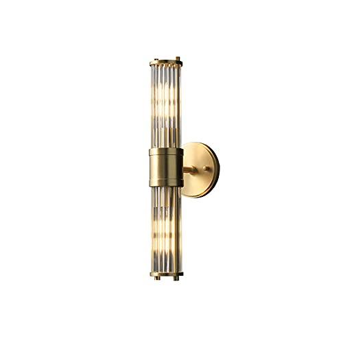 ZNLHJ Lámpara de Pared de diseño Creativo Cuadrado Dorado de Cristal Simple Moderno, Cabezal Simple y Doble Opcional, Escalera del Pasillo del Dormitorio de la Sala de Estar, Accesorio de iluminación