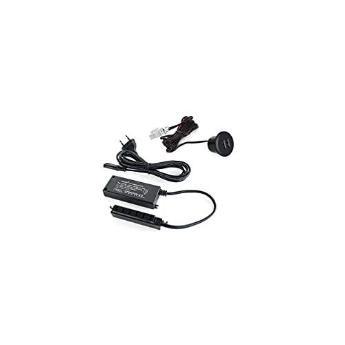 EMUCA EMU-5070614 Cargador USB Universal Tipo-A con 2 Puertos para encastrar en Mueble, Color Negro