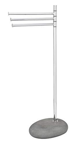 WENKO Handtuchständer Pebble Stone Grey mit 3 Armen - Kleiderständer, bewegliche Arme, Stahl, 38 x 84 x 23 cm, Chrom