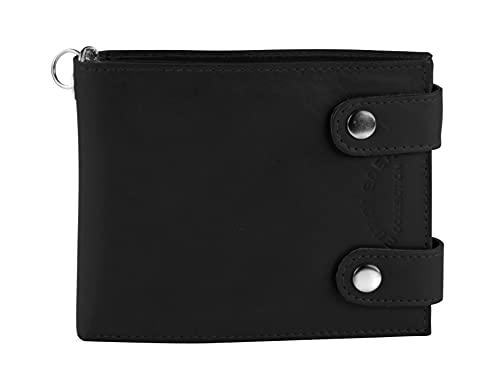 Monedero de motorista con cadena de piel, monedero para hombre, billetera de motero, negro, horizontal 2186, Negro ,