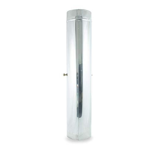 Tubo Liso c/llave 1m acero inoxidable para sistemas de ventilación y extracción, chimeneas y estufas de leña y pellet, autoconectable (110 mm)