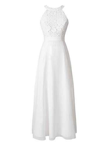 Agoky Damen Festlich Kleider Lange Abendkleider Spitzen Chiffon Cocktailkleider Neckholder Partykleid Swing Rock Hochzeits Brautkleider Weiß 40