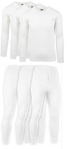 Andrew Scott Mens 3 Pack / 6 Piece Set Fleece Lined Base Layer Long Sleeve Long Pant Thermal Underwear Set (1 & 3 Pack Mix Match Options) (X-Large, 3 Sets/6 Piece -White)