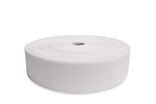 Jain Narrow Fabrics 2.0 Inch (50 mm) Wide, 15.0 Yards White Woven Elastic Band - Polyester and Spandex Fibre, DOB-Dyed Elastic for Sewing, Casings, DIY Projects |High Elasticity | Oeko-Tek Certified