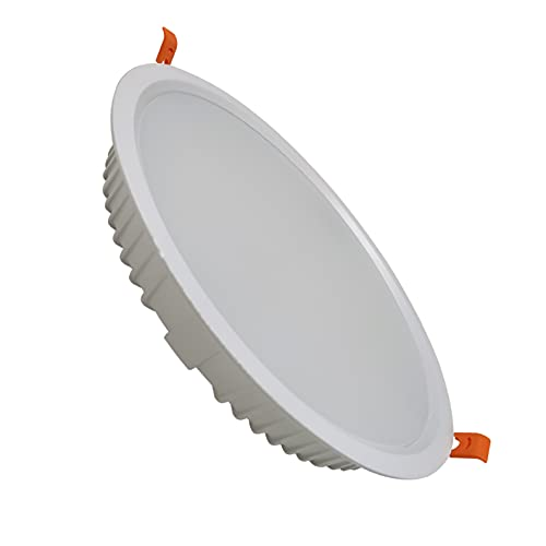 (LA) 2x Panel LED redondo 32w, corte 205mm (standard), 2800 lumenes reales, marco blanco. Driver incluido. (Blanco Frio (6500K))