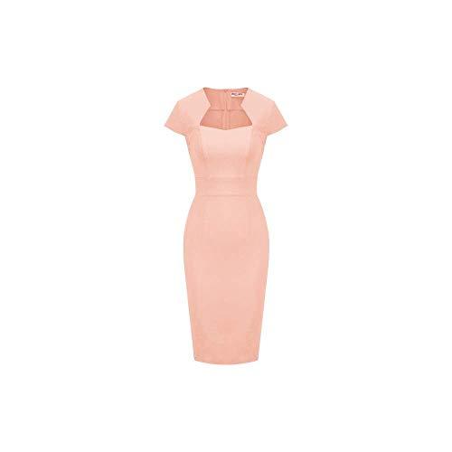LAMUCH Retro vintage sukienki damskie lato jednolity kolor czapka rękaw rozciągliwe biodra owinięte obcisłe ołówkowa sukienka elegancka sukienka robocza