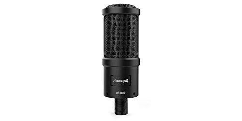 Audibax | AT2020 | Micrófono Condensador Profesional | Ideal para Estudio | Gran Rango de Frecuencias | Gran Diafragma | Sensibilidad -42db | Incluye Cable XLR Hembra a Minijack Stereo 2,5 m