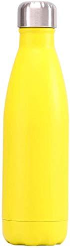 Plztou Bouteille d'eau isolée 500 ML de Mode Hydro Flacons d'eau Bouteille d'eau Thermos Couleur Solide Tasse de café Vacuum Flacon en Acier Inoxydable Tobilier à Eau Chaude Ballon 500ml Rose