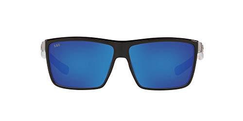 Costa Del Mar Men's Rinconcito Rectangular Sunglasses, Shiny USA Black/Blue Mirrored Polarized 580G,...