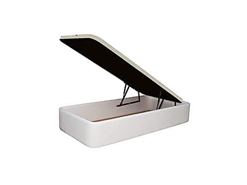 Canapé Tapizado en Polipiel, Acabado de Esquinas Redondas - Cabeceroscamas.com (Blanco, 90x190)