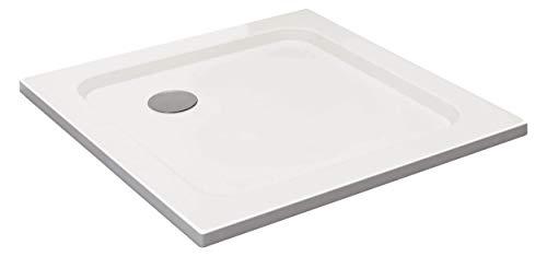 VILSTEIN Duschwanne 90 x 90 x 5 cm, sehr Flach, Duschtasse mit Gefälle, Sanitär-Acryl, Glasfaser verstärkte Wanne, DIN-Anschluss, Form: Quadratisch, Weiß, Schneeweiß Hochglanz - ohne Ablaufgarnitur