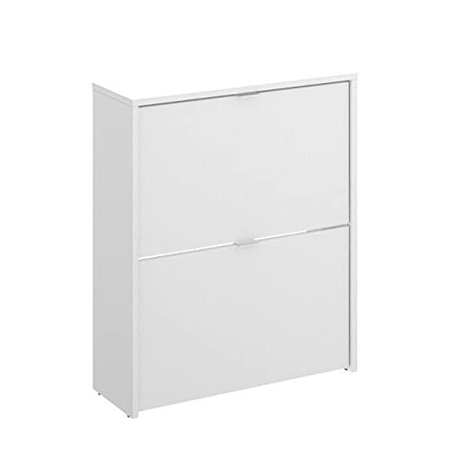 Homely - Zapatero de diseño Moderno Jazz Tablero de partículas melaminizado Color Blanco Brillo 61x25x76 cm