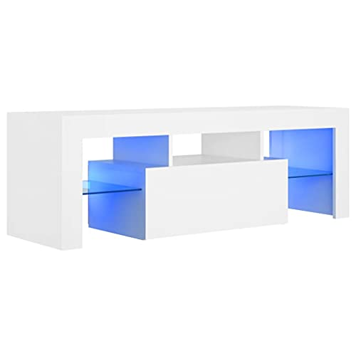 vidaXL Mobile Porta TV con Luci LED Bianco 120x35x40 cm