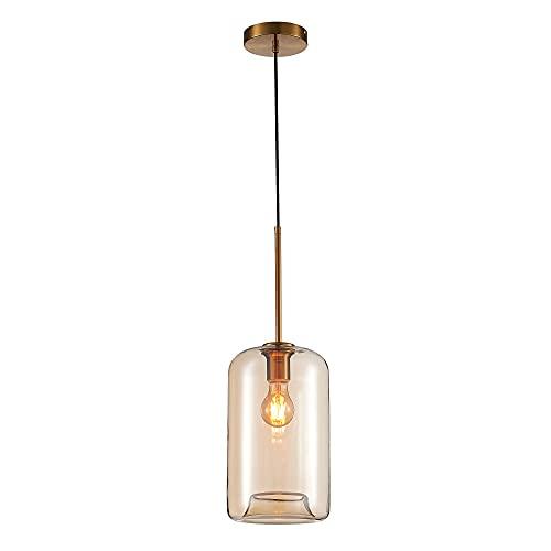 Lámpara de techo colgante con tulipa de cristal y metal oro viejo de Ø 18x31 cm - LOLAhome