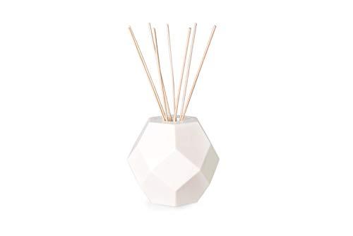 MANULENA Ambientador Mikado De Diseño Geométrico Poli. Aroma Garden Bouquet. Color Blanco. Difusor De Varillas con Palitos De Rattan Natural. 100 ml