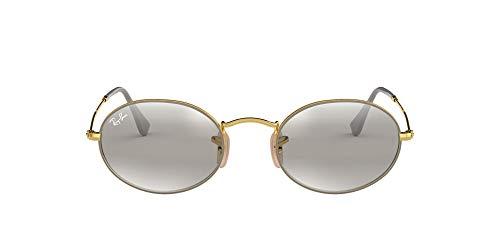 Ray-Ban RB3547 Óculos de sol de metal oval, cinza fosco em ouro/cinza espelhado, 54 mm