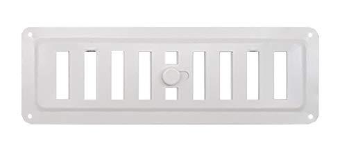 Rejilla de ventilación galvanizada ajustable en blanco Rejilla de ventilación regulada con revestimiento RAL9016 en rejilla de ventilación de metal blanca, abierta y cerrada. (7,5 x 23 cm)