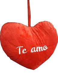 ML cojin de Corazon Rojo con Frase de Amor, I Love You de 28cm