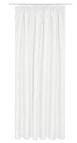 Kräuselband Vorhang Gardine Blickdicht Sichtschutz Lichtdurchlässig Dekoschal #UM9018 140x175 cm Weiss / 1er Pack