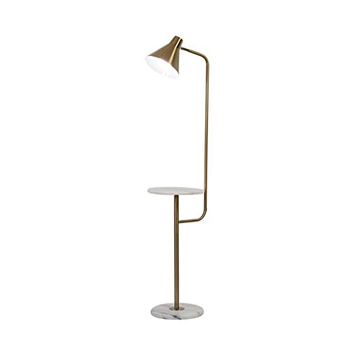 Lámpara de pie Lámpara de pie LED Luz blanca Nordic Simple Lámpara de pie de hierro forjado E27 Lámparas de pie con base de mármol for sala de estar del dormitorio Luz de Pie (Color : Gold)
