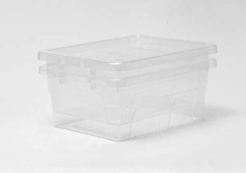 Caja de almacenamiento de plástico grande Caja de almacenamiento de plástico de 24L - Contenedores de almacenamiento transparentes, grandes, resistentes y apilables | Paquete de 5