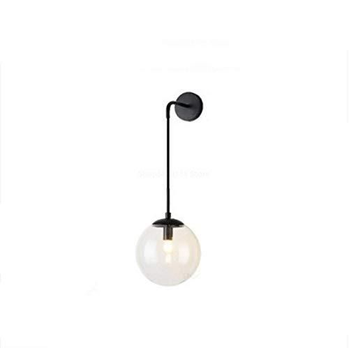 Lámparas de pared nórdicas vintage vintage LED espejo de bola de vidrio junto a dormitorio luz sala de estar decoración lámparas de pared para accesorios para el hogar Diameter20cm blacktransparent