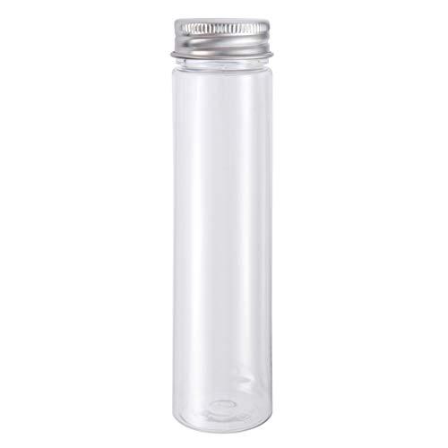 UKCOCO 12 PCS tubos de ensayo transparentes de plástico de fondo plano con tapones de rosca Candy Cosmetic Travel loción contenedores 110 ml