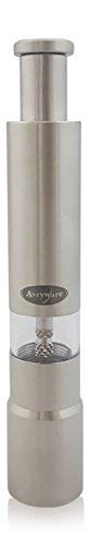 Avryware Stainless Steel Refillable Spice Grinder Mill For Salt, Pepper, and Seasoning - Thumb Operated Push Button For One Hand Grinding