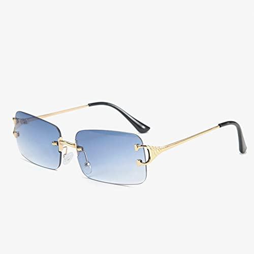 SXRAI Gafas de Sol rectangulares sin Montura para Mujeres, Hombres, púrpura, Rosa, pequeñas Gafas de Sol cuadradas, Gafas de conducción Uv400,C3