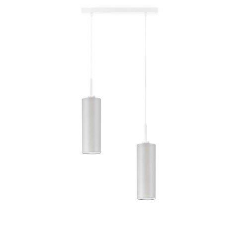 Madera - Lámpara de techo con pantalla de color gris claro y marco blanco