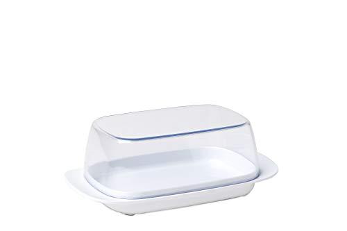 Mepal Butterdose White – für 250 g Butter – transparenter Deckel – passt genau in die Kühlschranktüre – spülmaschinenfest, Melamine/SAN, Weiß, 17 x 9.8 x 6 cm
