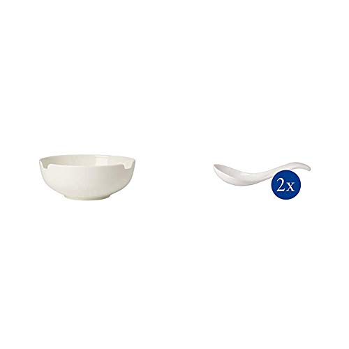 Villeroy & Boch Soup Passion Suppen Bol, Groß, Premium Porzellan, Weiß & Soup Passion Asia Suppenlöffel-Set, 2 tlg, 14,5 cm, Premium Porzellan, spülmaschinen-, mikrowellengeeignet, weiß