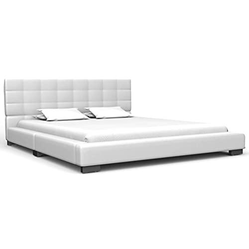 Marco de cama simple para niños, cama de adulto para dormitorio, marco de cama fuerte para niños, marco de cama de cuero sintético blanco 135 x 190 cm