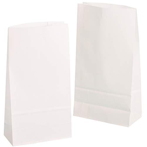 Pakiet kg 100 szt. torebki papierowe małe 9 x 16 x 5 cm torebki z dnem worki na owoce, chleb maślany, słodycze, opakowanie na prezent, torebki dla gości z białego papieru do pakowania prezentów