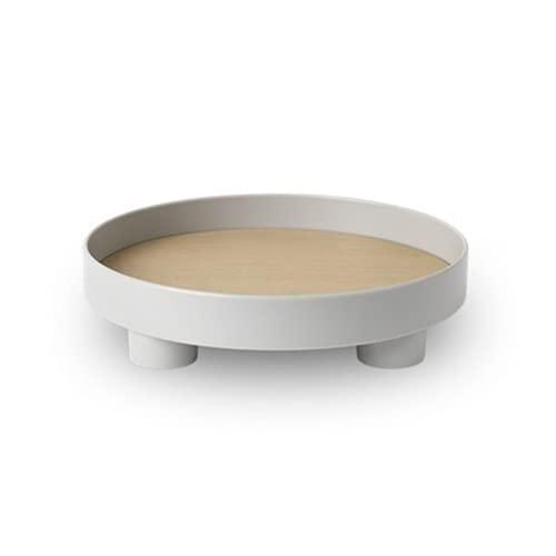 Jasis Woo Bandeja de almacenamiento redonda simple para sala de estar, dormitorio, joyería, tetera, placa de exhibición de escritorio para artículos de maquillaje, organizador de almacenamiento (gris)