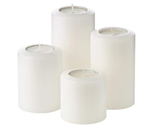 EDZARD 4er Set Teelichthalter Dauerkerze Cornelius Pine Durchmesser 6 cm, Höhen 6, 8, 10, 12 cm, hitzebeständig bis 90 Grad