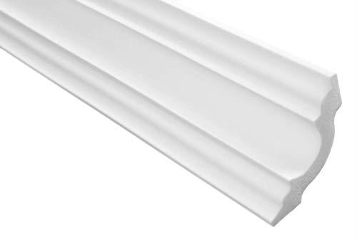 Zierleisten Sparpaket E-14   leicht und stabil   extrudiertes Styropor   Stuckprofile   Decken-/ und Wandübergang   modern weiß   dekorativ   XPS   50 x 50 mm   30 Meter